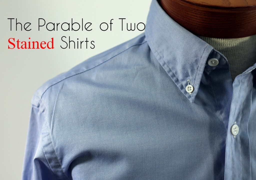 two stained shirts