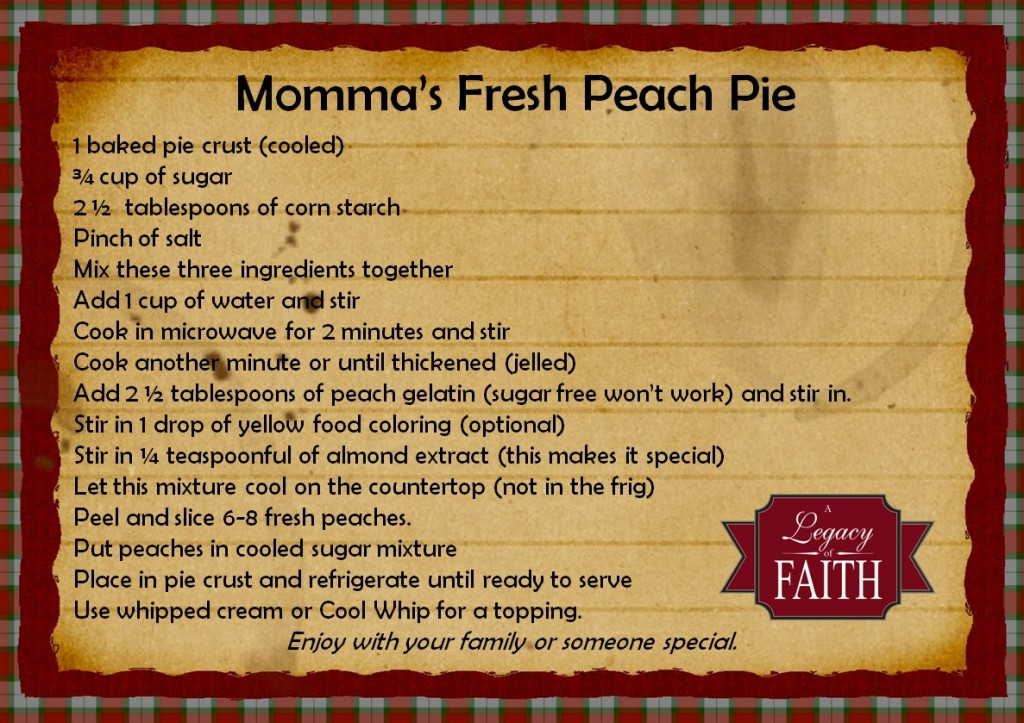 mommas fresh peach pie recipe