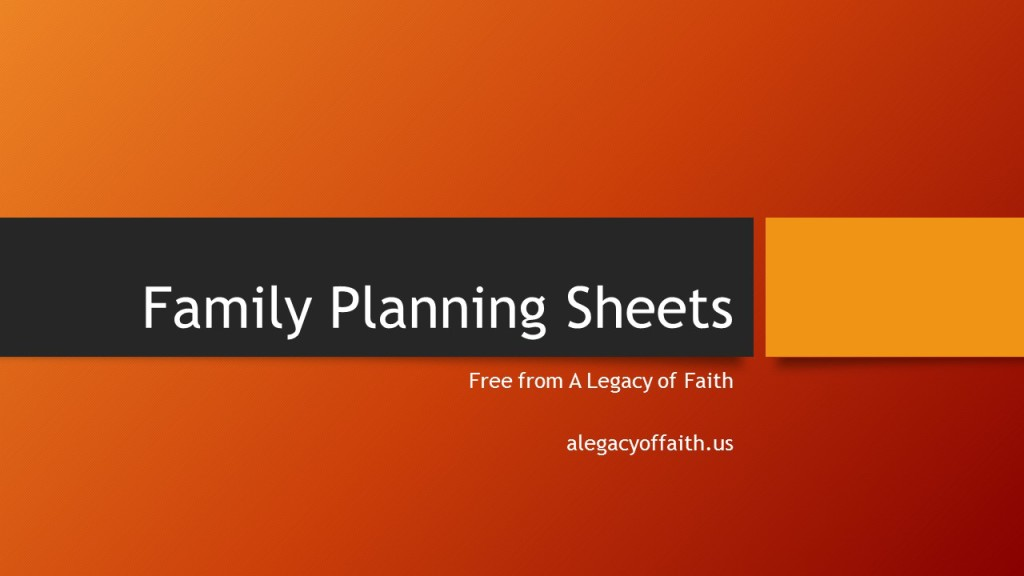 Family Planning Sheets